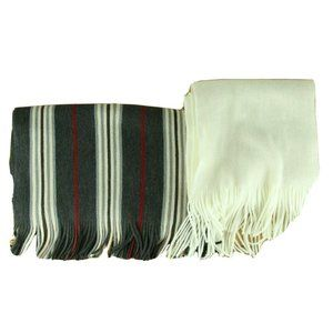 Scarves LOT OF 2 Gray Red Striped Ivory Solid Fringe